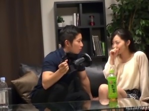 Horny Japanese couple has a blast while playing naughty games