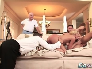 Slutty blonde housewife with lovely tits enjoys an exciting threesome