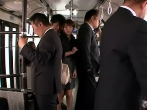 Strangers pick up a Japanese girl on the subway and fuck her