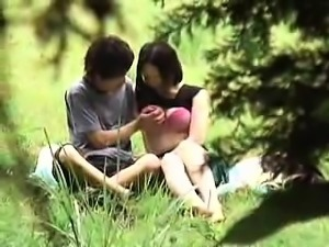 Pretty Oriental babes having fun with their boyfriends in t