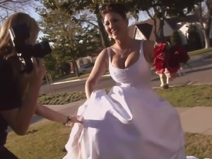 Big tits beauty in a wedding dress fucked by a groomsman