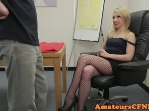 CFNM femdom giving footjob in stockings
