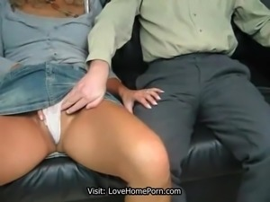 Hot 47yo blond MILF gives a hand job to her horny and fat man and licking sperm