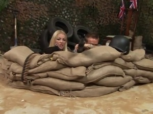 Sexy blonde and brunette soldiers get hard fuck in a trench