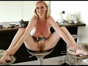 Chubby Blonde MILF takes young load