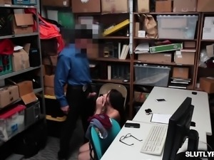Shoplifter Avi Love rides the LP Officers big cock