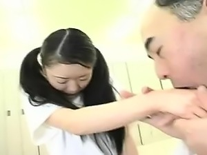 Slim Asian teen with pigtails surrenders her body to a horn
