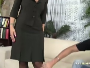 Busty mature slut in black stockings loves to deepthroat and spooning position