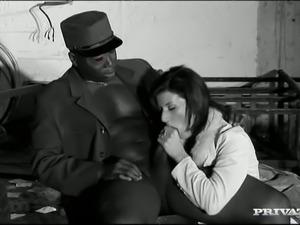 Raven haired sweet MILF Olivia enjoyed hard anal sex with black older man