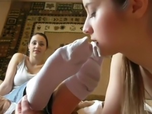Young Girls Lick, Sniff, Suck Feet in Socks