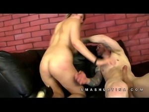 SmashLatina Deanna Dare the blonde huge tittied latina rides cock reverse...