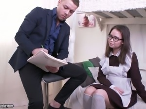 Lovely and nerdy Russian teen in sexy uniform is so submissive