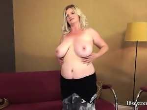 Chubby Blonde with Saggy Tits Fucked