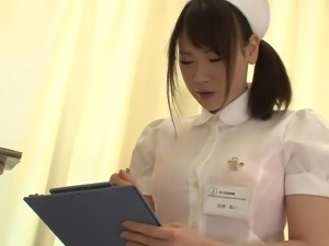 Japanese nurse wants to taste a lover's erected boner