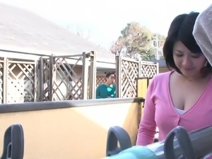 japanese milf with huge tits tricks dude into fucking her