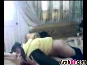Amateur Arab girlfriend takes boner in bedroom