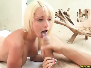 Blonde Rikki Six with big hooters and clean beaver takes