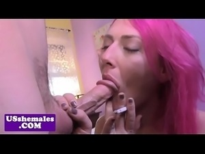 Amateur transsexual drools on cock