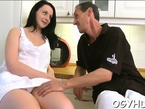 Crazy old fucker is cheerful to slam vagina of a young girl
