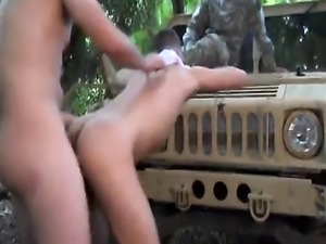 Soldiers enjoying naughty anal pounding outdoors