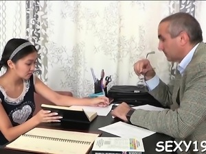 Cutie is delighting teacher with her skillful throat