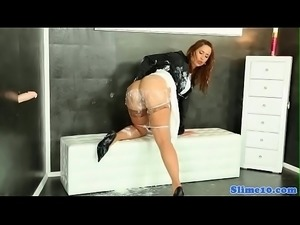 Gloryhole babe in stockings covered in cum