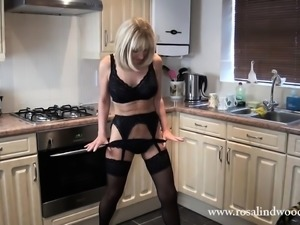 mature blode in the kitchen
