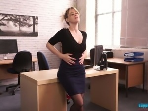 This secretary is sexy AF and let's have a closer look at her big tits