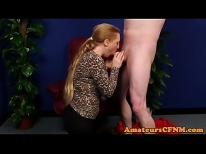 Curvy CFNM domina blowing her subs dick