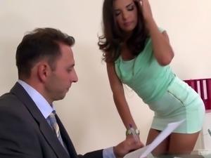 Russian minx Kira Queen is enjoying a hot threesome at work