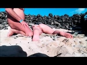 Real amateur group beach masturbation