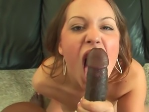 Busty brunette gets cream pie after riding a black tool