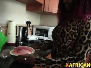 Awesome interracial kitchen bang