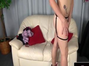 Solo femboi jerking her dick slowly