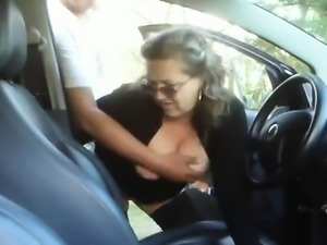 Mature hookup amateur hot blowjob in the public car