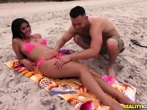 Ah... summer! Sun, sea and sex with beautiful latina beach babes. Take her...