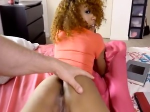 Ebony gf cheats with big white cock
