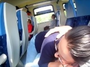 Extreme in Train : Public Blowjob and cum in mouth