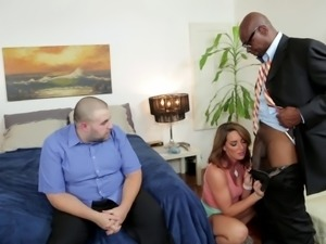 Sultry wife rides a black cock cowgirl pose as cuckold hubby looks on