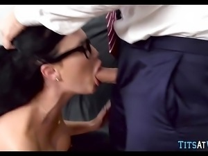 Huge tits in his office