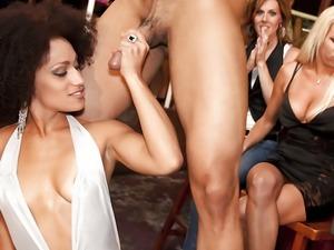 Crazy girls show their blowjob skills