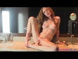 Skinny Girl Horny In Bathroom Masturbating With Dildo - Jovencitas20.com