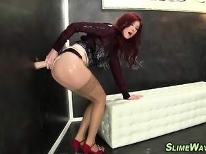 Stocking babe cum sprayed