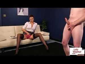 Busty british voyeur instructing sub to jerk