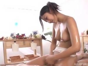 Mizuki Miri is an oiled up chick in need of a stiff dick