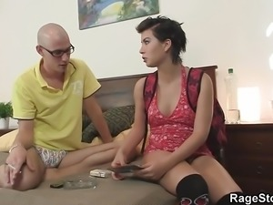 Rough pussy stretching and cock riding