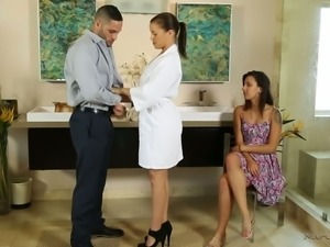 This man gets treated to an erotic massage by a woman who is sexy as hell