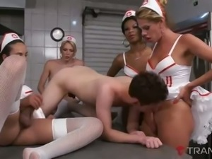 These shemales might not be nurses but they love hot reverse gangbang sessions