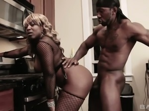 Hot black chick Reniya loves kitchen sex and her pussy is amazingly sweet