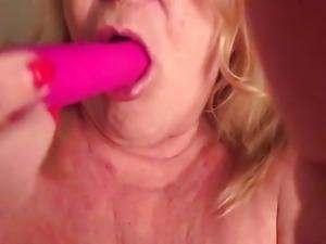 Auntie Sue sucking her toy